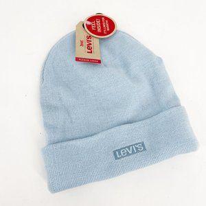 LEVIS Powder Blue Knit Stretch Beanie Hat Fleece Lined